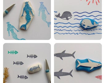 Ocean rubber stamp, set of 4, mermaid stamp, fishbone stamp, shark stamp, whale stamp, nautical stamp, beach stamp, ocean stamp, sea stamp