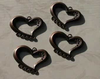 QUATRE pendentifs coeur ouvert cuivre flottant de charme titulaires sauvage des foncé antique victorienne la Saint-Valentin Vampire gothique amour coeur amoureux boucles