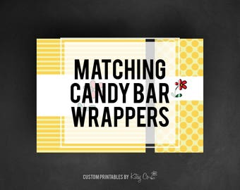 custom matching candy bar wrappers printable digital file