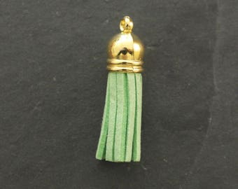 1 3.7 cm suede green color and Bell gold tassel