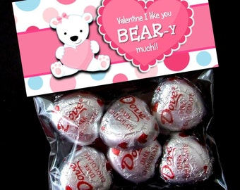 INSTANT DOWNLOAD - Printable Valentine Treat Bag Toppers  -  Valentine's Day - Pink Bear