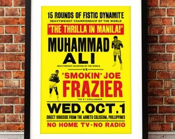 Muhammad Ali poster print, Muhammad Ali, Thrilla in Manila,  Muhammad Ali print, Muhammad Ali, boxing print, boxing poster