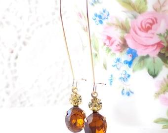 Vintage Topaz Earrings - Vintage Jonquil Earrings - Two Stone Earrings - Long Dangle Earrings