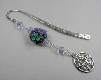 Garden Flowers Motif Charm Shepherd's Hook Bookmark with Lampwork and Faceted Crystals - Silvertone
