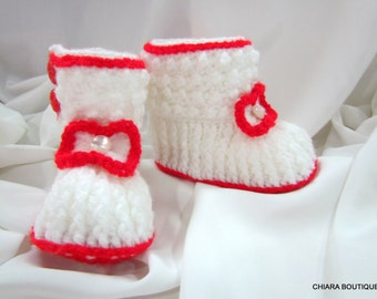 Crochet baby boots, crochet shoes, booties Newborn girl, girl boots, baby girl gift, baby girl shoes, baby girl gift,withe, red