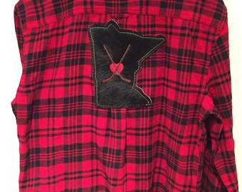 Custom Hockey Lovers Flannel Shirt with Cowhide State, Hockey Sticks  on a Heart