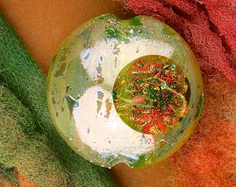 """Lampwork Glass Bead SRA """"Transit of Themisto"""" Handmade Faceted Dichroic Window Bead with Fine Silver Lustre ~ Meadow"""