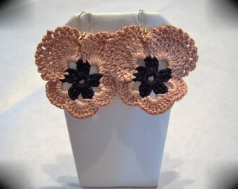 Coppery Pansy Earrings / Free Shipping