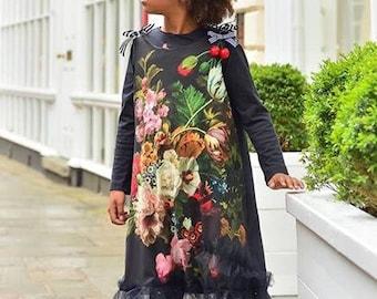 Folka floral girls dress, party dress, cool dress. Comfortable dress Photo shoot Special dress