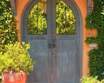 "Door Photography, Gray Door Print, Architecture, Rustic Shabby Orange Cottage Print, California Door Art- ""California Casa"""