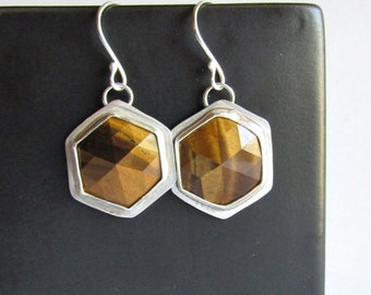 Hexagon Tiger's Eye Earrings - Geometric Earrings - Hexagon Jewelry