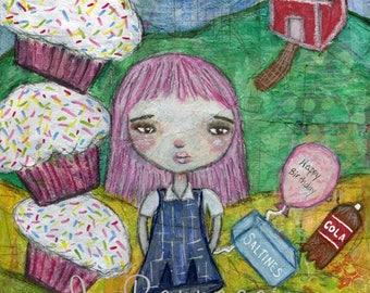 Cupcake art, Whimsical Girl, Child-Like Art, Inner Child Art, Birthday Gift, Gift for her, Schoolhouse, Courage and Art, Jackie Barragan