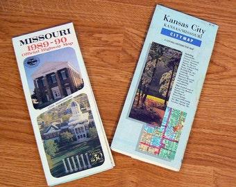 2 Vintage Maps 1989 to 1990 Missouri State and Kansas City MO Maps