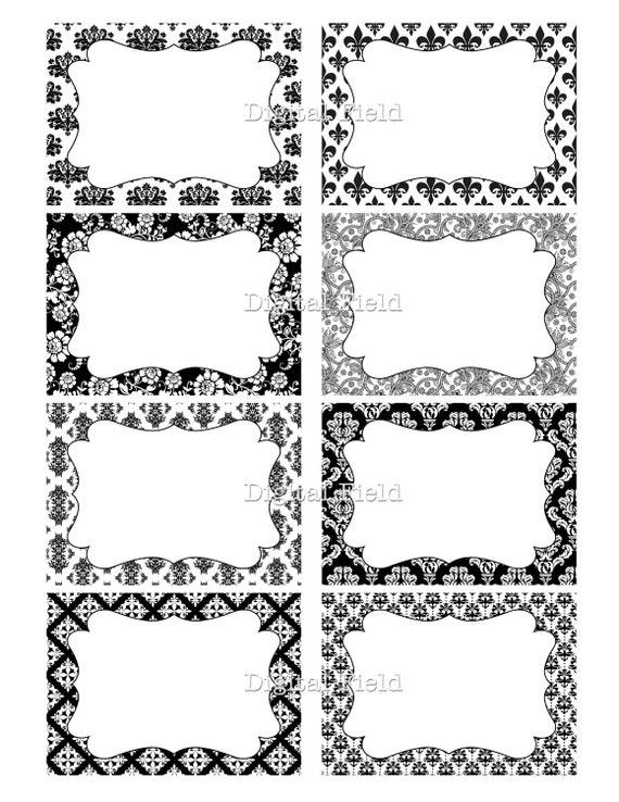 Blanco y negro damasco floral diario digital para imprimir - Papel de pared blanco y negro ...