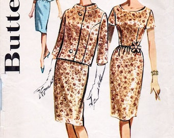 1960s Dress & Jacket Pattern Butterick 9970 Vintage Sewing Pattern Elegant Slim Skirted Dress and Short Jacket Bust 34 Mostly FF