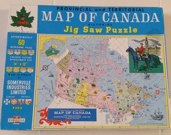 FREE U.S. SHIPPING--Vintage Puzzle, Map of Canada, Unopened