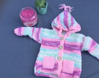 Crocheted baby jacket
