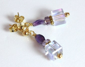 Amethyst and Crystal Earrings-Purple Mist