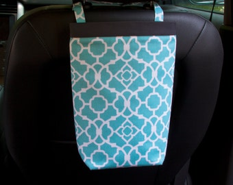 Car Trash Bag, Waverly Lovely Lattice Aqua, Women, Car Litter Bag, Auto Accessories, Auto Bag, Car Organizer, Craft Bag