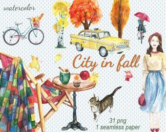 Digital 31 Autumn Watercolor clip art, city in fall clip art, autumn leaves, umbrella Digital Collage, Instant Download, clip 79
