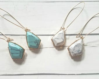Marble Pendant Earrings / White Marble Jewelry / Turquoise marble earrings / howlite jewelry / Howlite earrings / Geometric Jewelry Wedding