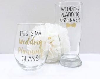 This Is My Wedding Planning Glass Set - Wedding Planning Observer Beer Glass - Engagement Gift - Mr & Mrs Gift - Bride and Groom To Be