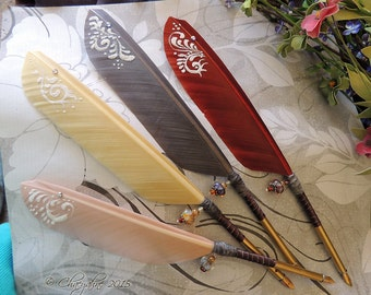 TAPESTRY Rich Warm Winter Toned Feather Quill Pen Pens - CSD