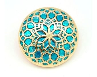1 Snap button click round flower green and gold 20 mm snap 18 mm snap