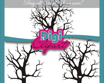 """Fingerprint Tree Bare Leafless 7.1"""" x 7.8"""" Tree Trunk with Heart Silhouette Clipart - DIGITAL DOWNLOAD"""