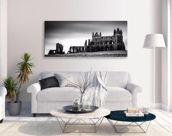 Whitby Abbey Canvas Black White Ruin Panorama Canvas Wall Art Home Decor