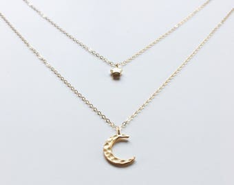 Dream on' Moon & Star Necklace