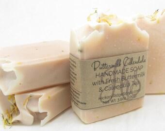 All Natural, Homemade Soap ~ Calendula Tea Handmade Soap with Buttermilk ~ Cold Process Soap ~ Buttermilk Soap