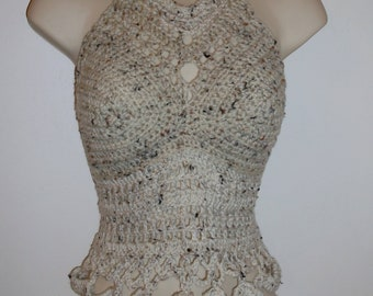 Hand Crochet Long Body Tank Top in OATMEAL, Crochet Halter Top, Cropped Top, Festival Top, Beach Cover-up, Hippie Chic , Summer Top