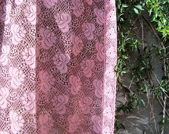 "Dusty Rose Lace Vintage Tea Tablecloth 52"" Square"