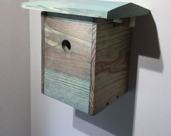 Bird House Nestbox rustic hand-carved handmade natural wood eco finish Beautiful & Useful