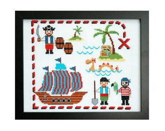 Cute Pirates Cross Stitch Pattern Instant Download