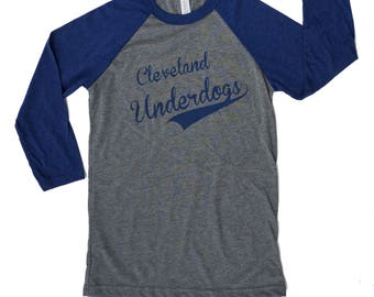 Baseball Raglan unisexe Tee - Cleveland outsider (gris et bleu marine)