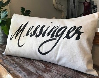 Hand lettered, personalized family name pillow