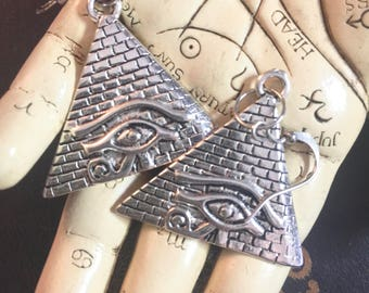 Egyptian Pyramid Earrings, Eye of Horus, Eye of Ra