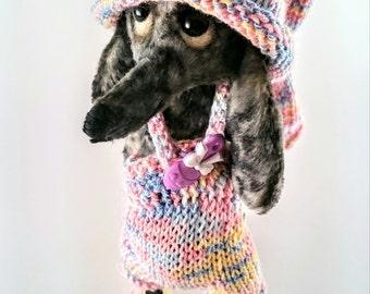 Teddie dachshund, A wire-haired dachshund teddy, artist teddy, teddy, pocket friend , art doll , artist teddy bear