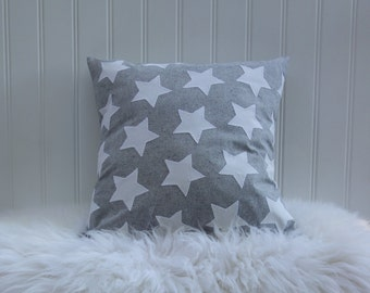 Farmhouse Pillow Cover – Star Pillow –  Organic Cotton – Gray – Antique White – Kids Pillow Cover – Christmas – Holiday – 22 X 22