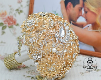 Gold bouquet, Brooch bouquet, Gold Wedding, Bridesmaids bouquet, Gold brooch bouquet, Wedding bouquet, Crystal Bouquet, Bridal Bouquet