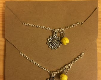Sunflower Girl and Doll Matching Necklace Set
