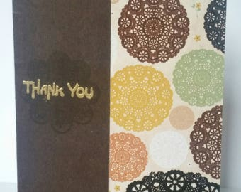 Thank You Card - Earthy Doilies with Personalised Envelope