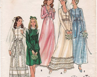 Vintage Butterick 6469 Junior & Misses' Bridal Dress, High Waisted Wedding Dress Sewing Pattern, Size 11, Bust 33 1/2, Partly Cut