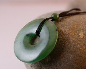 Jade necklace green nephrite jade twisted lucky 8 green jade round donut necklace nephrite jade necklace aloadofball Image collections