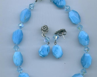 Lovely necklace and earring set made from blue lace agate and Swarovski crystals