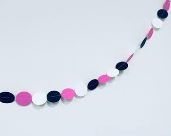 Pink, Black and White Sewn Paper Garland-Circle Banner