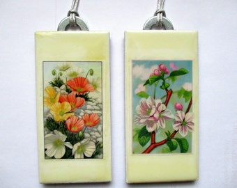 Botanicals on small ceramic tiles. Pair wall hangings for Home or Office.
