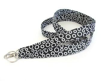Fabric Lanyard, ID Badge Lanyard Key Holder, black white circles - Teacher gift, Teacher lanyard